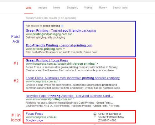 Local search - Green printing Sydney