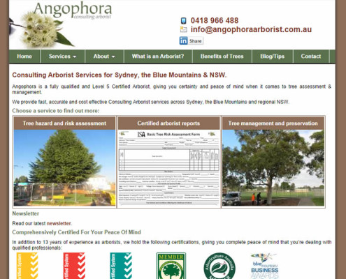 Angophora Arborist website