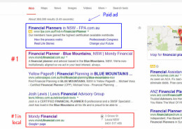 Local SEO - Blue Mountains financial planners