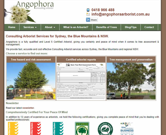 Angophora Arborist website